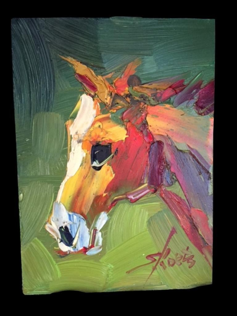 Pair Of Signed Abstract Horses Oil Paintings