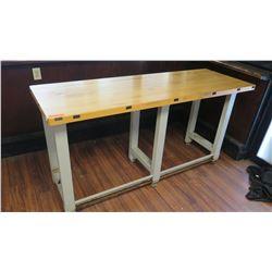 "Wooden ""Butcher Block"" Table 72"" x 25""W x 37.5""H"