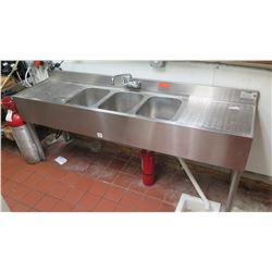 """Three-Compartment Sink w/ Drain Boards 72""""L x 19""""D x 33""""H"""
