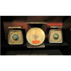 3 Kitchen Scales: Accu-Weigh 50 lbs, Taylor 5 lbs, Taylor 32 oz
