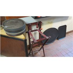 Serving Trays and 2 Folding Tray Stands