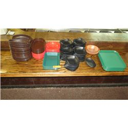 Misc. Ceramic Appetizer Bowls, Plastic Serving Baskets, Trays