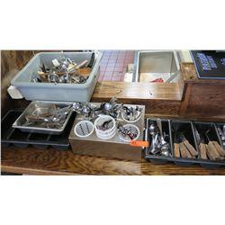 Large Lot of Flatware, Serving Utensils, Utensil Holders, Trays, etc.