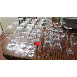 26 Wine Glasses, 4 Martini Glasses
