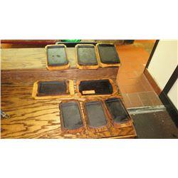 8 Cast Iron Serving Pans w/ Wood Base