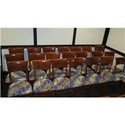 Approx. 21 Wooden Dining Chairs w/ Blue/Tan/White Upholstered Seats\