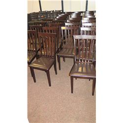 Approx. 20 Dark Wood Dining Chairs w/ Black Padded Seats