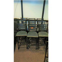 Qty 9 Black-Framed Barstools w/Padded Gray Seats