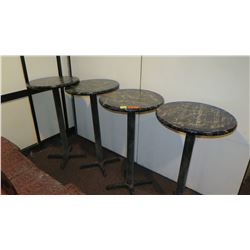 Qty 4 Round Faux Marble-Covered Tables w/Metal Base
