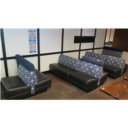 """11 Pcs Blue/White/Black Upholstered Booth Seats (3 Sizes: Approx. 49"""", 48"""", and 32"""")"""