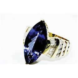 #SA-16 9.7 ct Tanzanite & Diamond Ring