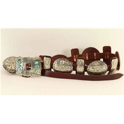 Navajo Turquoise & Silver Concho Belt