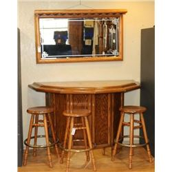 Oak Gamblers Bar with Stools