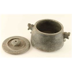 Antique Gray Stone Pot with Lid