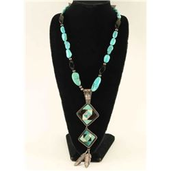 Beaded Necklace with Zuni Pendant
