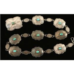Navajo Turquoise & Silver Plate Concho Belt