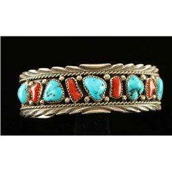 Old Pawn Turquoise & Coral Bracelet