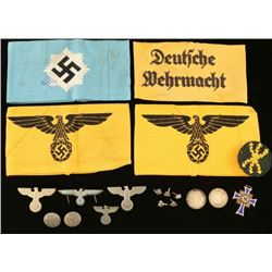 Lot of German WWII Armbands & Insignia