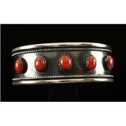 Vintage Navajo Sterling & Coral Cuff