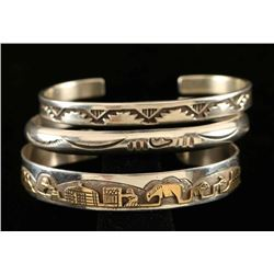 Lot of 3 Vintage Navajo Stamped Bracelets