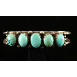 Antique Turquoise & Sterling Silver Bracelet