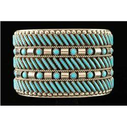Zuni Needlepoint Turquoise Cuff