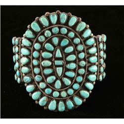 Navajo Turquoise & Silver Cluster Bracelet