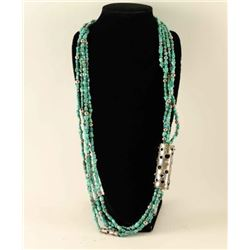 Vintage 4 Strand Turquoise & Silver Necklace