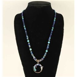 Sterling, Lapis & Turquoise Beaded Necklace