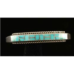 Sterling Silver & Turquoise Inlaid Bracelet