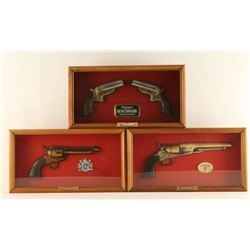 Lot of 3 Replica Revolvers in Shadowboxes
