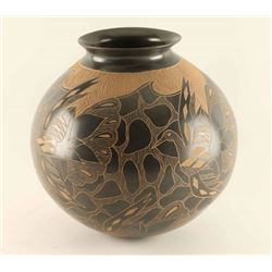 Incised Carved Pot with Bird Design