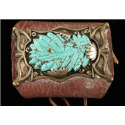 Leather Wrist Cuff with Silver & Turquoise