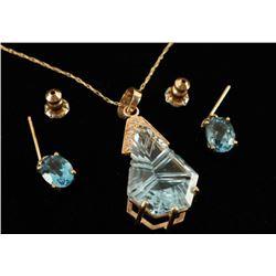Blue Topaz & Diamond Pendant with Earrings