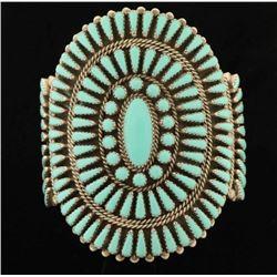 Beautiful Large Zuni Turquoise Cluster Bracelet