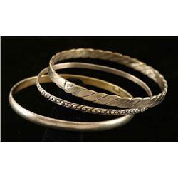 Set of 3 Old Pawn Silver Bangle Bracelets