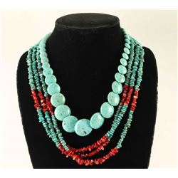 Lot of 2 Native American Turquoise Necklaces