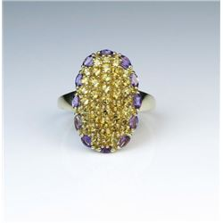 Bold Citrine & Amethyst Fashion Ring