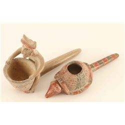 Lot of 2 Pottery Pipes