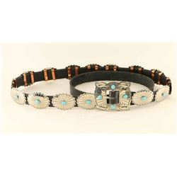 Turquoise & Hammered Silver Concho Belt