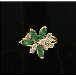 Ladies Vintage Diamond & Emerald Ring
