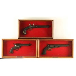 Lot of 3 Wood Carved Pistols