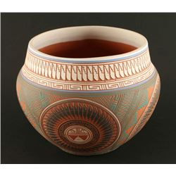 Colorful Incised Carved Pot
