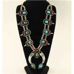 Turquoise & Coral Squash Blossom Necklace