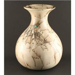 Horsehair Vase with Turquoise