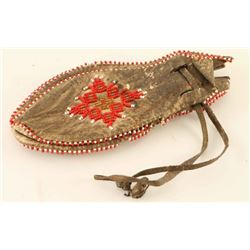Plains Indian Leather Draw String Beaded Bag