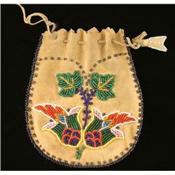 Plains Indian Leather Draw String Bag