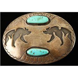 Navajo Turquoise & Silver Bear Belt Buckle