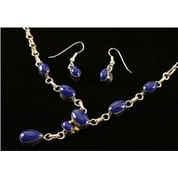 Blue Lapis Silver Y Necklace Set