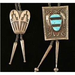 Lot of 2 Navajo Sterling Silver Bolo Ties